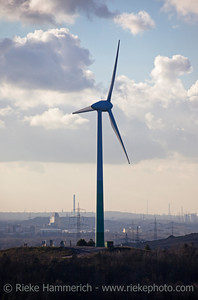 Wind Turbine on a Heap in Industrial District - Recklinghausen, North Rhine-Westphalia, Germany