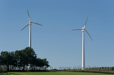 Two wind turbines in field - Marl, North Rhine Westfalia, Germany