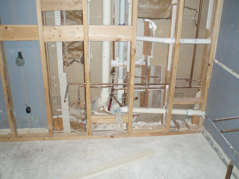 Plumbing & new wall
