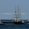 Historic Whaler Charles W. Morgan under tow in the Cape Cod Canal, Sandwich, MA.