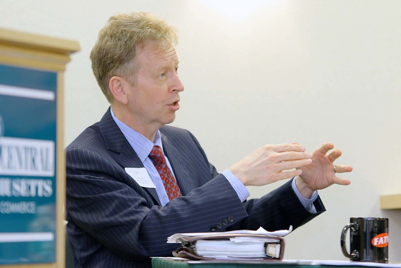 "Jon Hurst the President of Retailers Association of MA address the group at the ""State of Small Business"" roundtable held at The North Central Massachusetts Chamber of Commerce building on South Street Tuesday morning. SENTINEL & ENTERPRISE/JOHN LOVE"