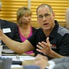 "Tim Gendron President of Tim's Fabricators, INC. in Fitchburg addresses the State Representatives at the ""State of Small Business"" roundtable held at The North Central Massachusetts Chamber of Commerce building on South Street Tuesday morning about his concerns. SENTINEL & ENTERPRISE/JOHN LOVE"