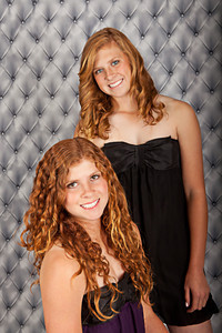 Grey Tufted  Finished portrait of.Twins, Kaitlin and Kimberlee. By Kathy Rappaport