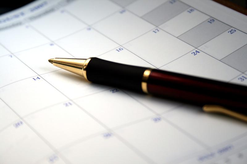 Fine ink pen on a blank datebook.