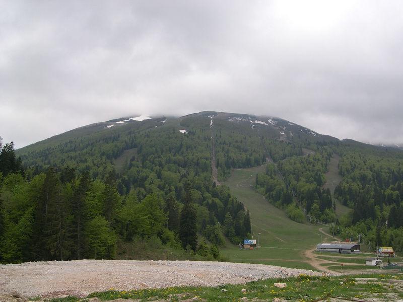 Ski slopes in summer.  (Site of 1984 Winter Olympics.)