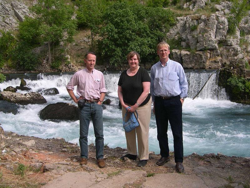 Mostar:  Susan with auditors Eric Brintet and Terry De Jong.