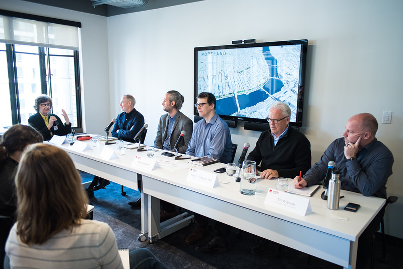 """Metropolis Magazine Think Tank at TVA Architects in Portland, Oregon May 9, 2018. TVA studio tour, panel discussion and lunch. © 2018 Fred Joe /  <a href=""""http://www.fredjoephoto.com"""">http://www.fredjoephoto.com</a>"""
