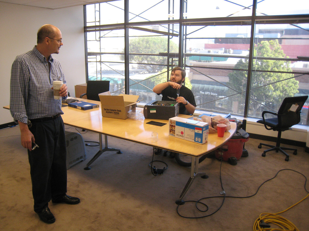 Geoff set up shop in the conference room and made sure we all had gigabit ethernet cards installed
