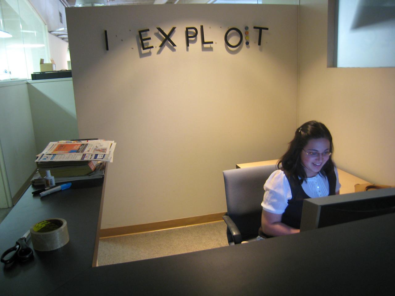 Ranjana is the new receptionist at I Exploit, Inc.