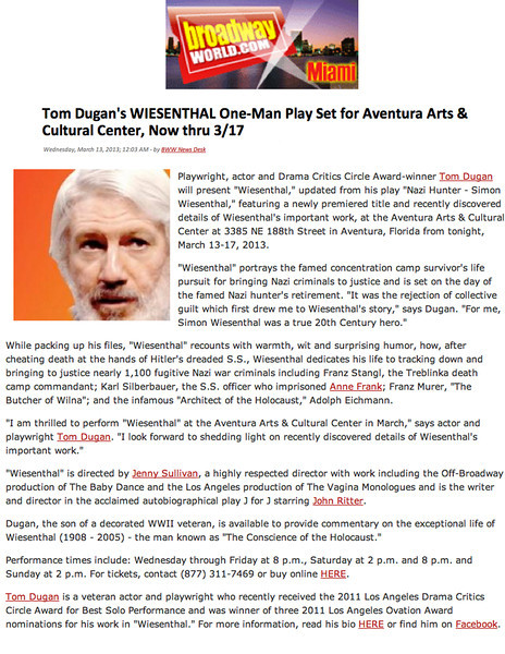 td BroadwayWorld March2013 Aventura Wiesenthal clipping
