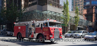 Fire Truck in Downtown Vancouver  – Vancouver, British Columbia, Canada
