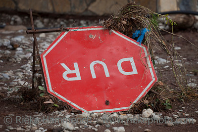 Overturned Turkish Stop Sign - Flood Disaster in Olympos, Turkey, Asia