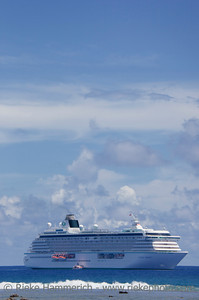 Cruise Ship anchored behind Coral Reef - Rarotonga, Cook Islands, Polynesia, Oceania