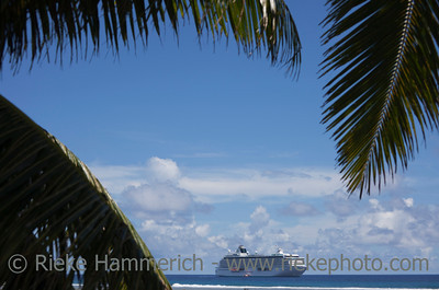 Cruise Ship under Palm Fronds - Rarotonga, Cook Islands, Polynesia, Oceania - Focus is on the Cruise Ship