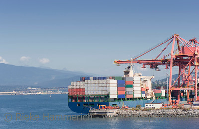 Container Ship on commercial Dock – Port of Vancouver, British Columbia, Canada