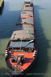Barge on canal - Wesel-Datteln-Kanal in Dorsten, Germany