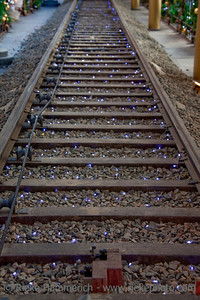 Railroad Track with Christmas Lights - Hong Kong, China, Asia