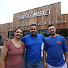 Turnpike Market on Middlesex Turnpike in Billerica. From left, owners Kinnari and husband Sam Patel of Billerica, and chef Fernando Gravena of Lowell. (SUN/Julia Malakie)