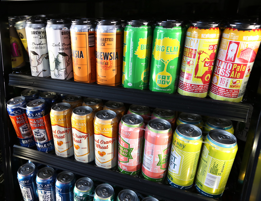 . Turnpike Market on Middlesex Turnpike in Billerica. Some of the market\'s extensive and constantly changing selection of microbrews. (SUN/Julia Malakie)