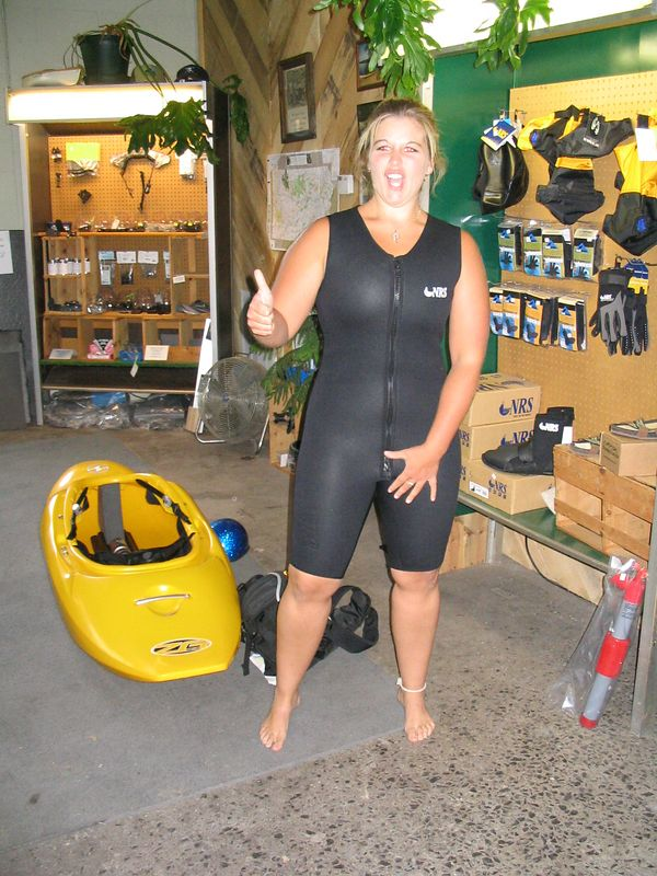Kristans first attempt at a wetsuit found her in a guys. Hey, whats all this extra material down here for. (If you were a guy, you would be glad it was there)
