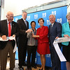 Gov. Charlie Baker attends opening ceremony and ribbon-cutting for the UMass Lowell Fabric Discovery Center at 110 Canal. From left, State Rep. Rady Mom, Lowell mayor Bill Samaras, Gov. Baker, UML vice chancellor for Research & Innovation Julie Chen, UML chancellor Jacquie Moloney, UMass president Marty Meehan, and Lowell city manager Eileen Donoghue. (SUN/Julia Malakie)