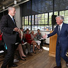 Gov. Charlie Baker attends opening ceremony and ribbon-cutting for the UMass Lowell Fabric Discovery Center at 110 Canal. Baker is introduced by UMass president Marty Meehan. (SUN/Julia Malakie)