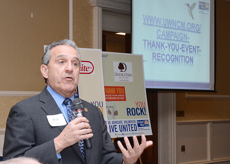 SENTINEL&ENTERPRISE/Ashley Green -- Fitchburg State University President Robert Antonucci speaks during the reception held on Thursday evening at the DoubleTree Hotel in Leominster. Antonucci is also an elected chair for the United Way of North Central Massachusetts.