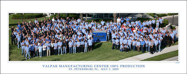 Valpak employees celebrate 100% Full Production; image taken atop 30' crane.