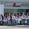 Verizon union workers protest outside of the Verizon Wireless store at Orchard Hill Park in Leominster on Wednesday afternoon. SENTINEL & ENTERPRISE / Ashley Green