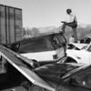 1/15/96 Trooper Bill Gardner works a multiple vehicle accident on I-40 at Canton, N.C., Monday January 15, 1996. Dozens of vehicles were involved in the 9:00 AM accident caused by fog.(AP Photo/Asheville Citizen-Times/Ewart M. Ball)