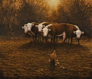 giclee-canvas-print-reproduction-farmyard-animals-scene-cattle-chickens