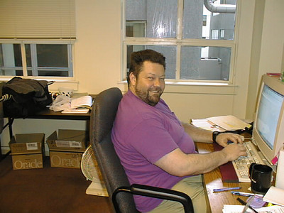 Joe Weinstein at work in our first office at 180 Montgomery Street in late 1996 or early 1997.