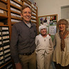 Family-owned-company, Wee Forest Folk, makes miniatures in Carlisle. Willy Petersen and his sister Donna Robbins, with a cutout of their mother, company founder Annette Petersen, made for her 100th birthday celebration. Annette still comes to the office one day at week at age 101.(SUN/Julia Malakie)