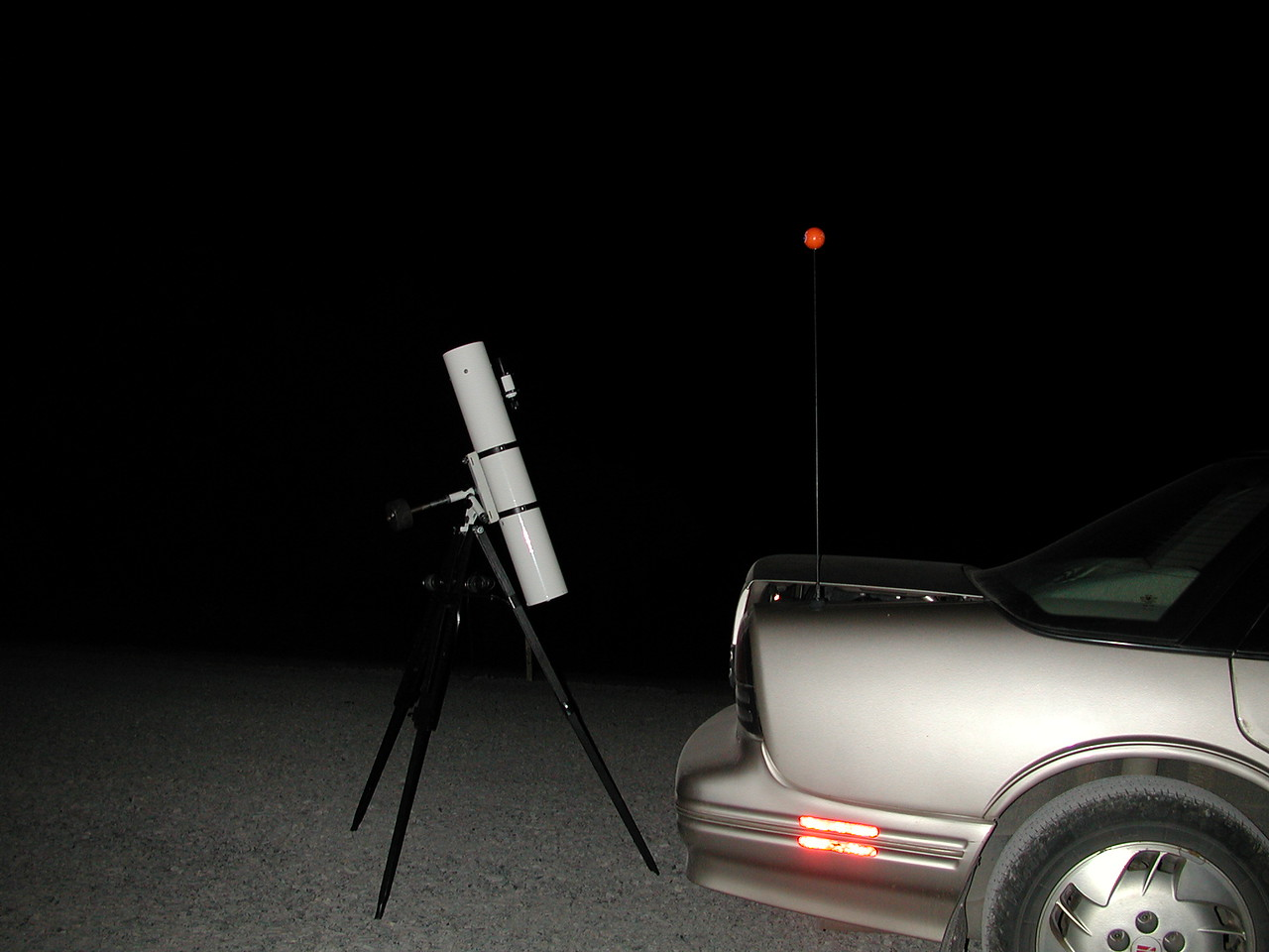 The observing setup is light and simple and easily fits into the trunk of my Oldsmobile.