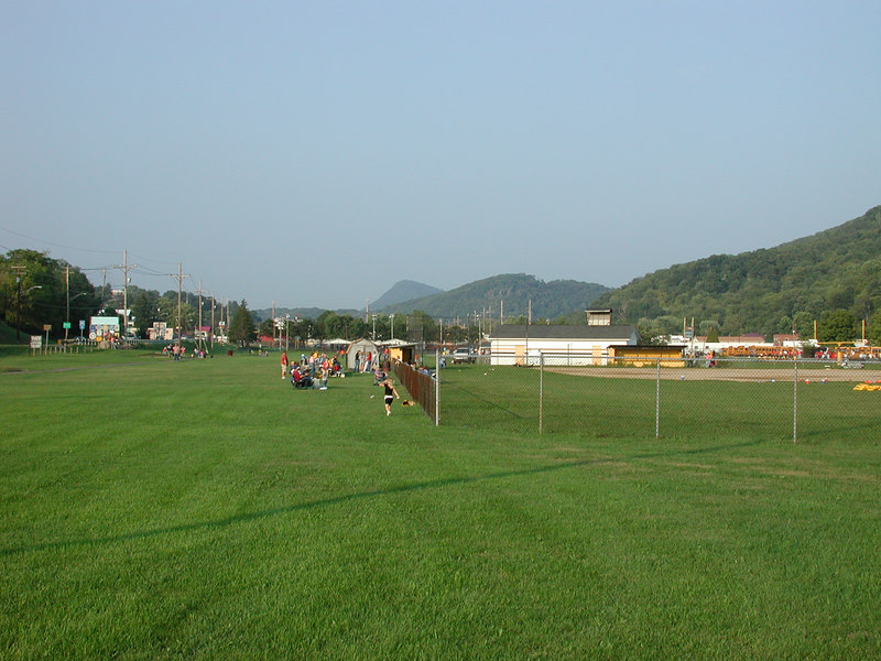 Scenic mountains and football pratice at a local high schoolin Keyser.