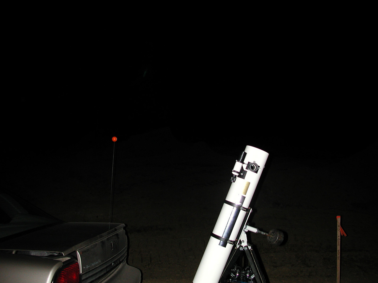 Pull the telescope out of the cars trunk, attach the counter-weight to the equatorial mount, place the tube assembly in the rings and extend the tripods legs. Now your ready to go!