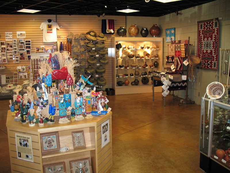 There are several displays of native pottery, Navajo woven rugs, artwork, and handmade jewelry.
