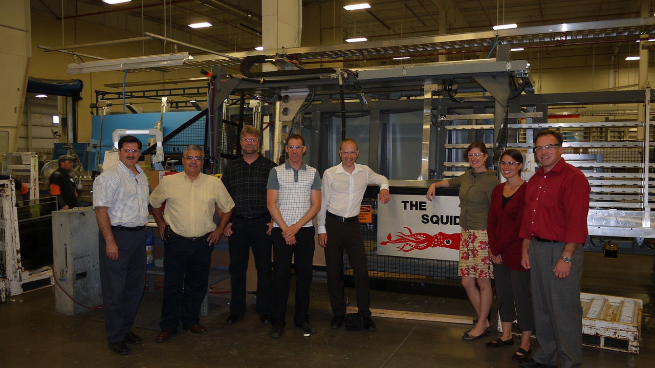 Brooke, Joy and Andrew from BC Ministry of Energy, Mines and Petroleum Resources and Steve, Greg and Tony from BC Hydro visited Cardinal Glass' Insulating Glass Unit (IGU) factory in Hood River, OR.