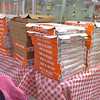 42 Pizza Boxes (Mobile) <br /> 42 boxes of pizza for partners working on the Saturday of Labor Day weekend. Looks like we forced Little Caesar's to use plain, backup boxes. Taken with my Motorola RIZR at work.
