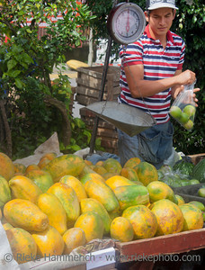San Jose, Costa Rica - August 31, 2008: Market Vendor selling papayas and other fruits in San Jose, Costa Rica. Farmers markets are a traditional way of selling agricultural and home manufactured products in Latin America.