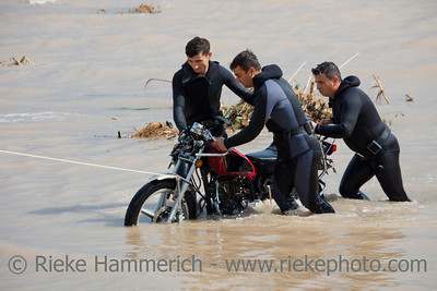 Frogmen with Motorbike - Rescue Work after Flood Disaster in Olympos, Turkey, Asia