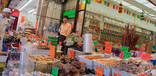 Vancouver, British Columbia, Canada – August 6, 2005: Market Vendor offering dried food in Chinese Store in Pender Street in Chinatown of Vancouver, Canada. Chinatown in Vancouver is one of the largest historic Chinatowns in North America and a popular tourist attraction.