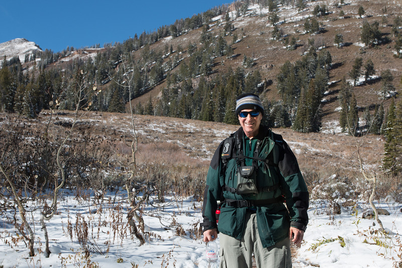 Don on Teton Pass Trail to Crater Lake (courtesy of friendly passing hikers!)