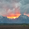 Spectacular sunset over Mt Moran and Grand Teton