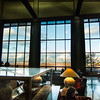 View of Tetons from Jackson Lake Lodge Mural Room