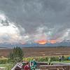 Spectacular sunset over Teton Range from back porch of Jackson Lake Lodge