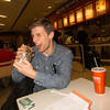 John and his giant burrito at Salt Lake City Airport