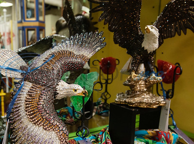 Eagle figurines are for sale at Ye Olde City Antique Mall in downtown Tyler, which on reopened in new sections of an adjacent building on Monday after a devastating fire on June 2.