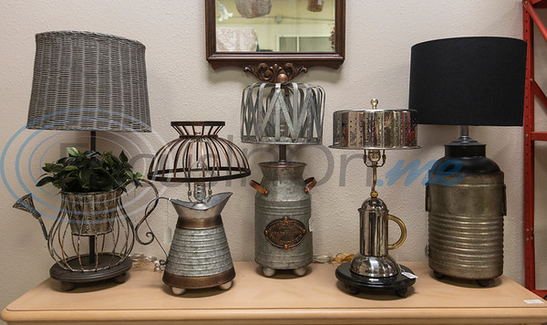 Lamps are for sale at Ye Olde City Antique Mall in downtown Tyler, which on reopened in new sections of an adjacent building on Monday after a devastating fire on June 2.