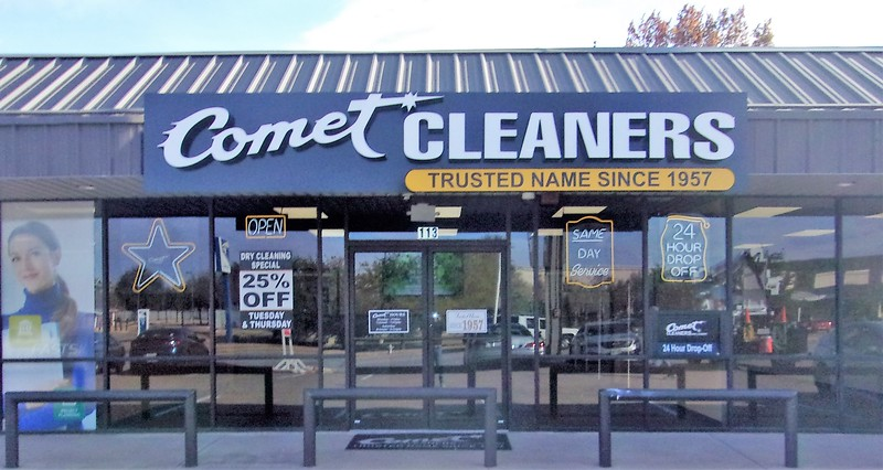 Comet Cleaners raceway mounted channel letters with backer plates